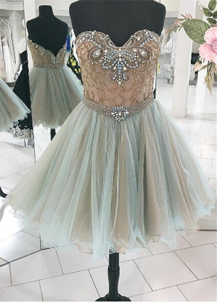 light green beaded sweetheart tulle A-line short homecoming dress, HD4550