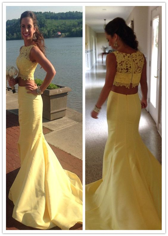 2017 two pieces yellow mermaid lace long prom dress, PD6573