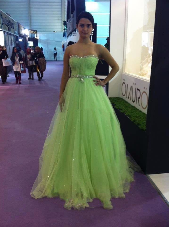 7a3a7b110ff light green strapless tulle A-line long prom dress for girls