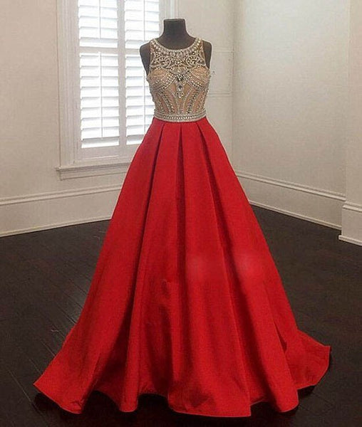 2017 A-line round neck red satin beaded long prom dress, PD6800