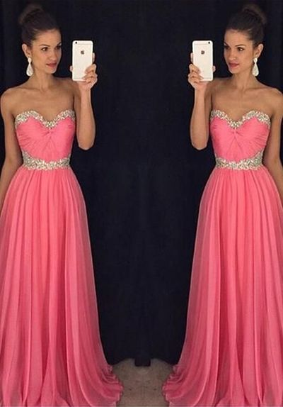 formal elegant watermelon strapless chiffon long prom dress, PD11148
