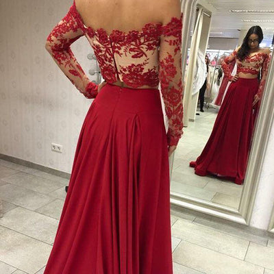 off shoulder two pieces red lace top long sleeves long prom dress, PD56566