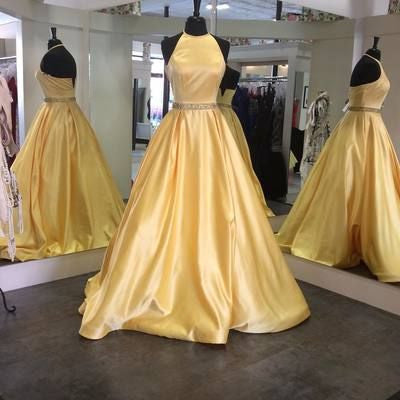 long 2017 A-line halter yellow satin simple prom dress, PD3015