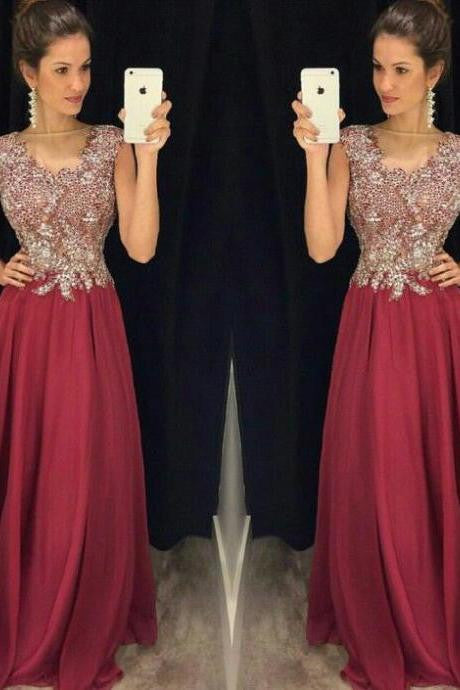 burgundy prom dress, long prom Dress, beaded evening dress, modest prom dress, 2017 evening dress, BD393