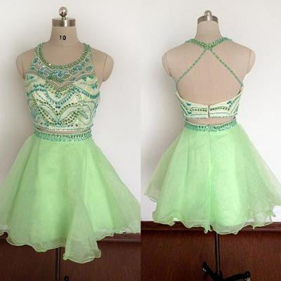 Green two pieces short beaded short homecoming dress, BD39762
