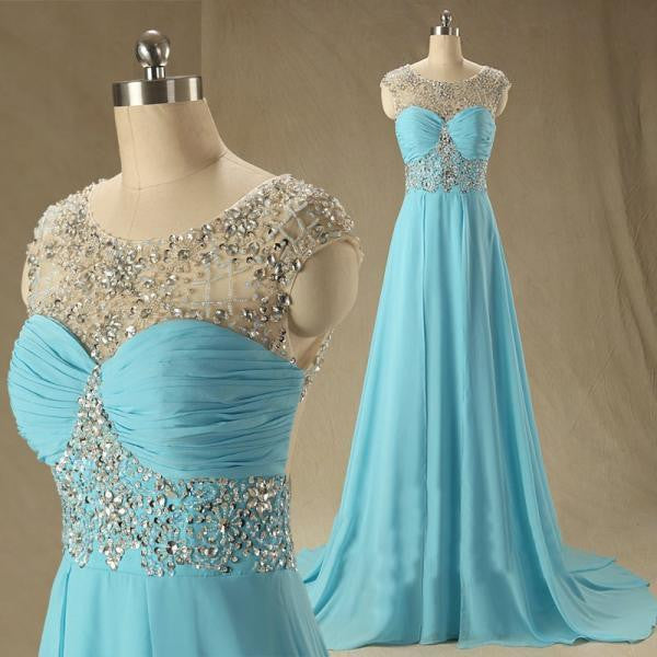 blue prom dress, long prom dress, chiffon prom dress, cheap prom dress, beaded prom dress, BD393