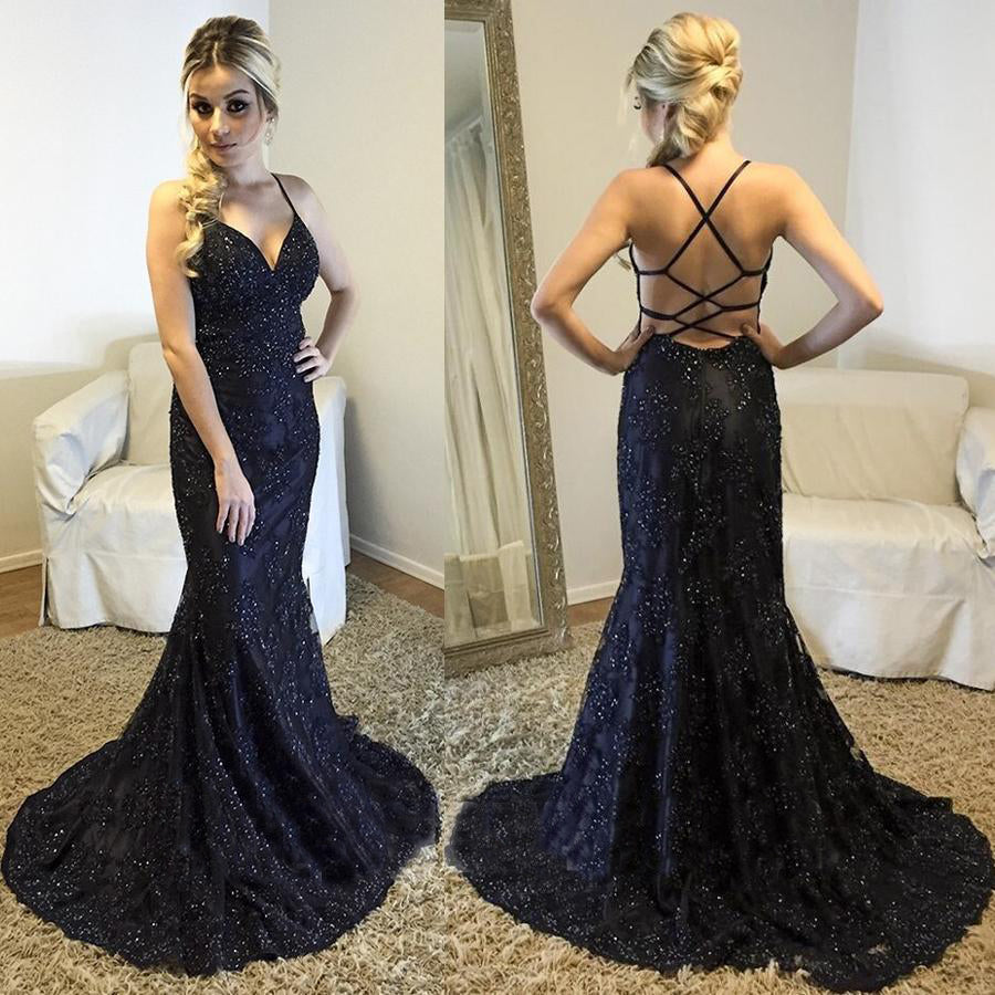 spaghetti straps formal black lace mermaid long prom dress, PD7424