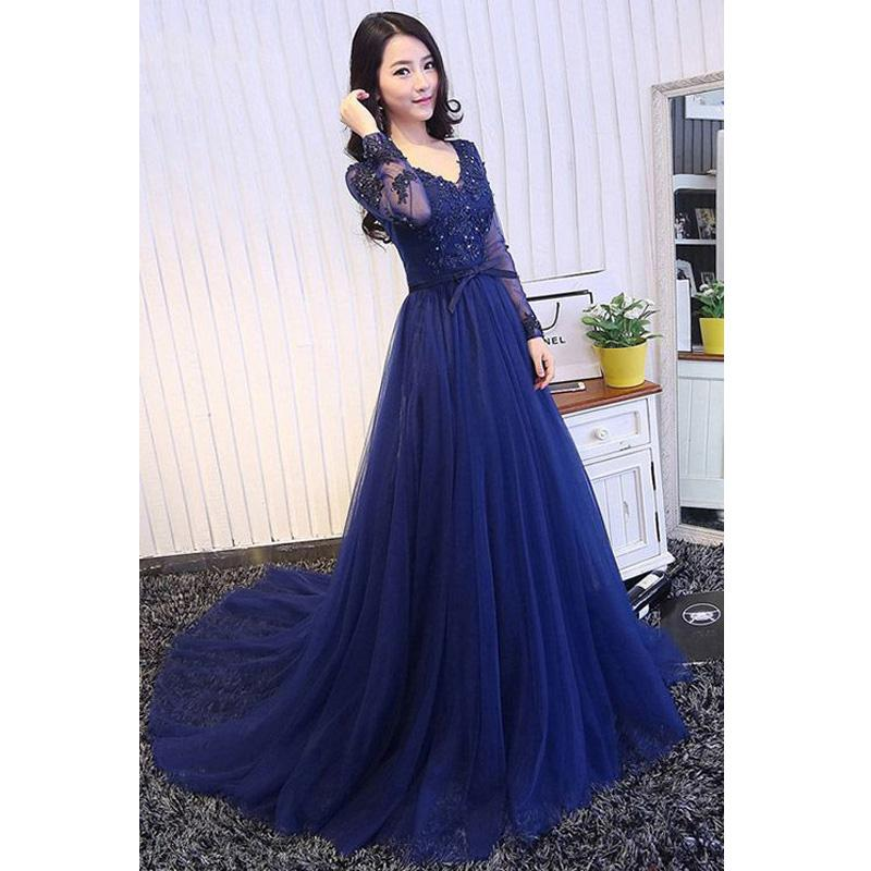 modest long sleeves v-neck tulle long prom dress, PD8871