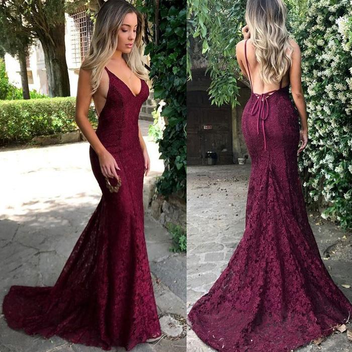 formal spaghetti straps mermaid backless burgundy lace long prom dress, BD4457