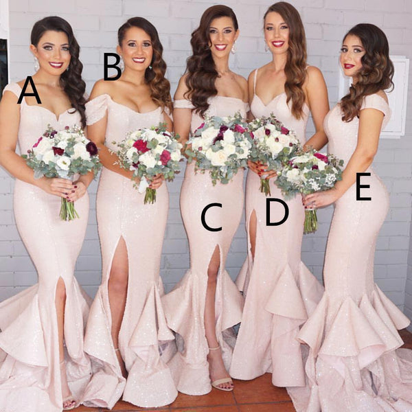 light pink sequin sparkle long mermaid Cheap Bridesmaid Dresses 2017,BD7304