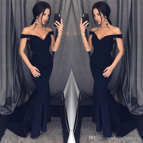 elegant off shoulder mermaid long black prom dress, PD40001