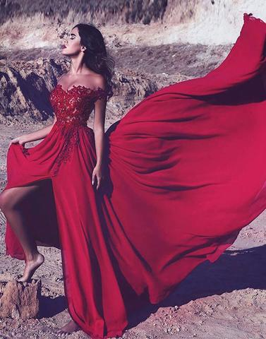 charming red chiffon off shoulder side slit long prom dress, PD4486