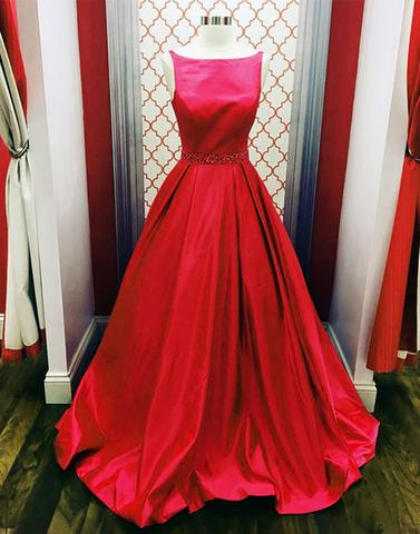 modest red satin A-line simple long prom dress, PD1480