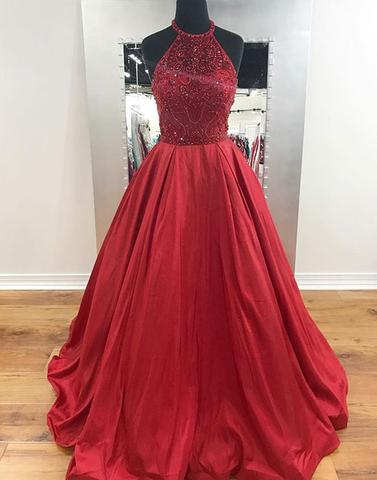 A-line red satin beaded top halter 2017 long prom dress, PD5788