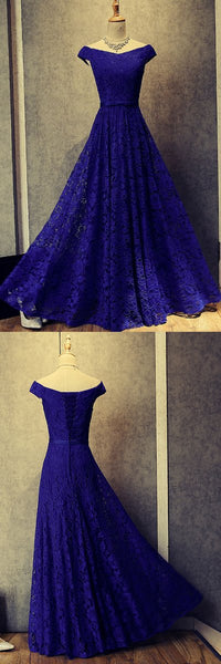 modest cap sleeves royal blue lace long prom dress, BD7675