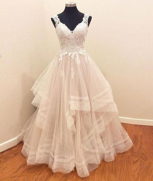 two straps beige A-line long princess ball gown, PD8874