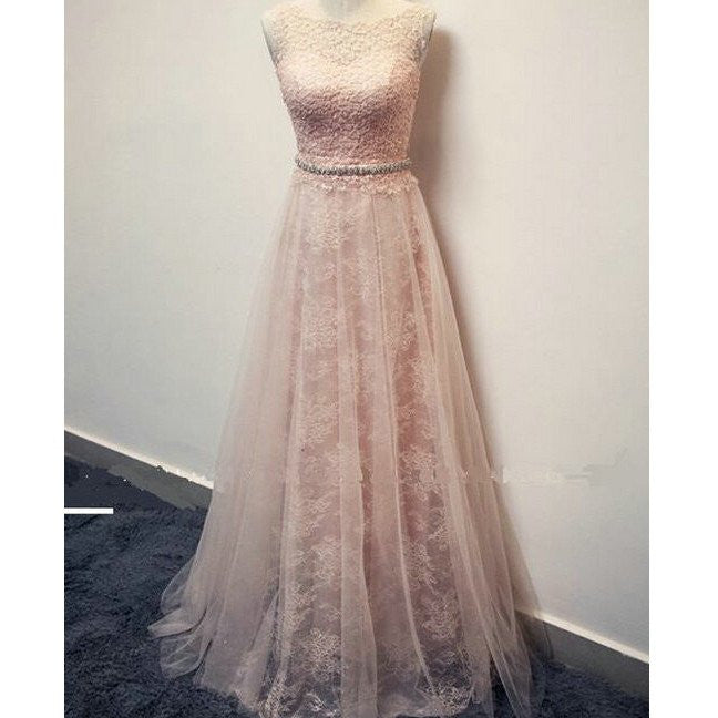 pearl pink prom dress, lace prom dress, modest prom dress, 2017 prom dress, charming prom dress, BD380