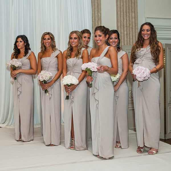 light gray long one shoulder chiffon bridesmaid dresses ,BD46571