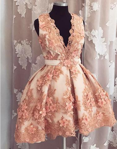 2017 charming v-neck coral appliques short homecoming dress, HD985