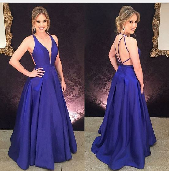 v-neck open back royal blue satin long formal prom dress, PD5458