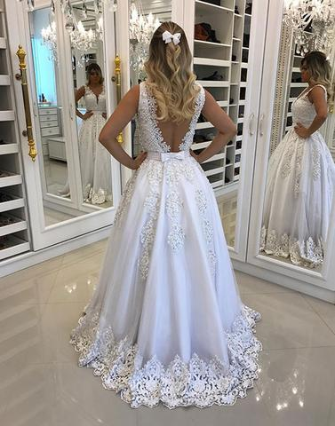 2017 formal A-line v-neck White long princess prom dress, PD6570