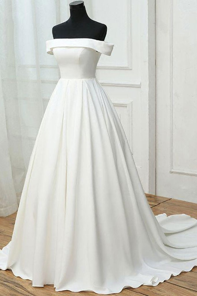 4f1eb00a92c9 ... off shoulder white satin simple long prom dress