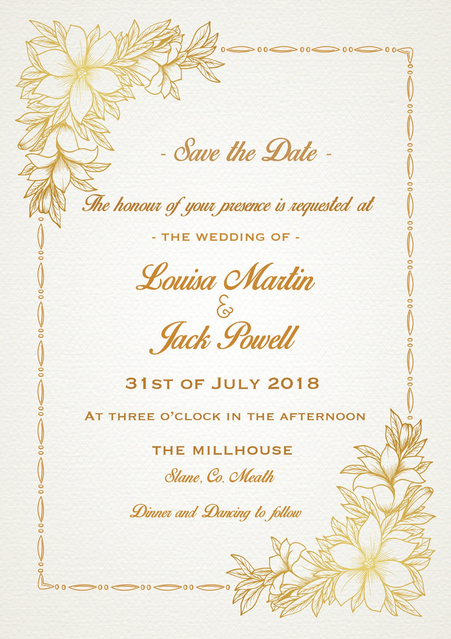 Apricot Floral A5 Wedding Invitation