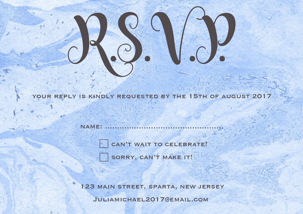 Blue Swirl RSVP Card
