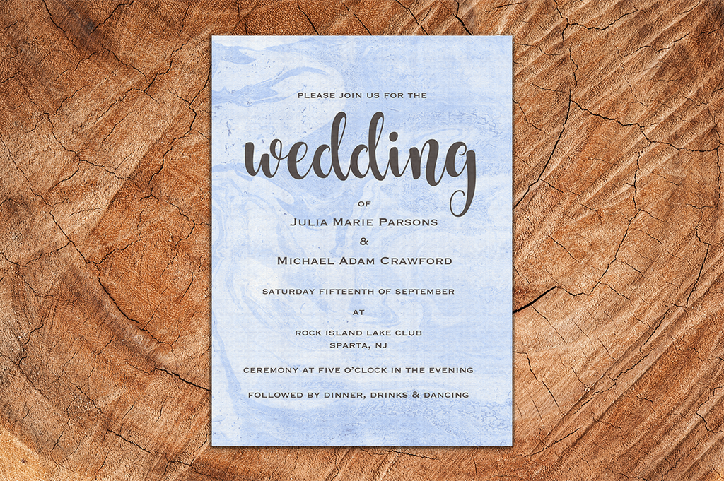 Blue Swirl A5 Wedding Invitation