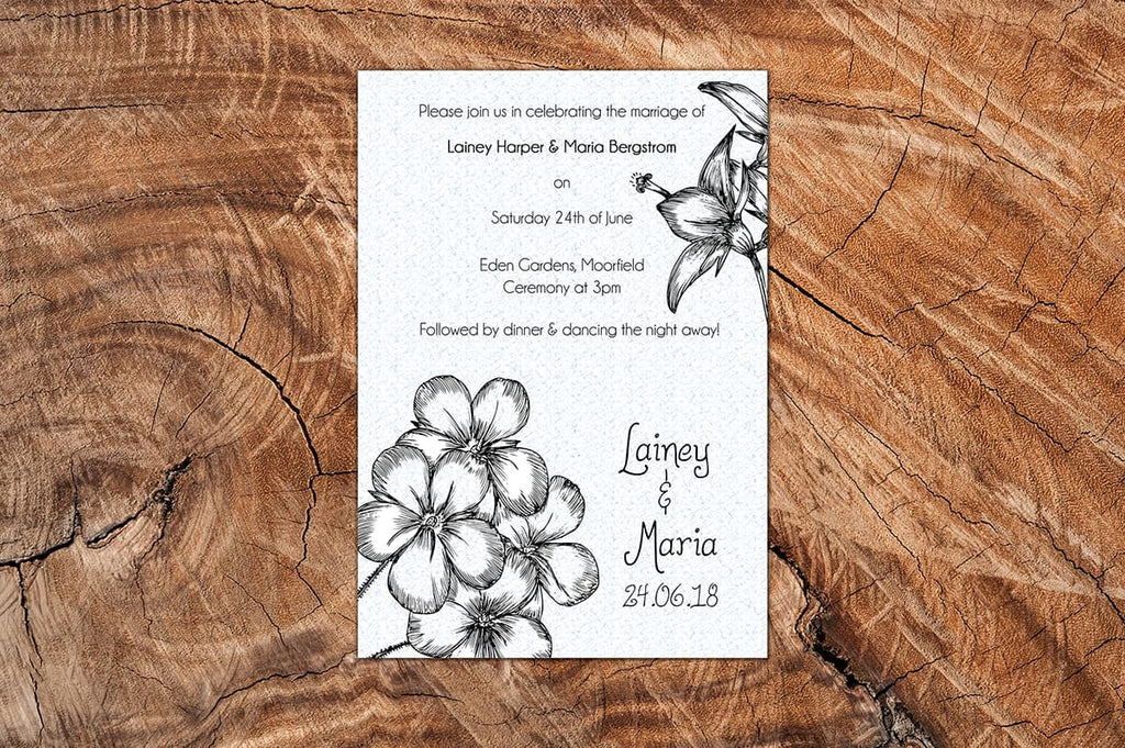 Botanical Beauty A5 Wedding Invitation