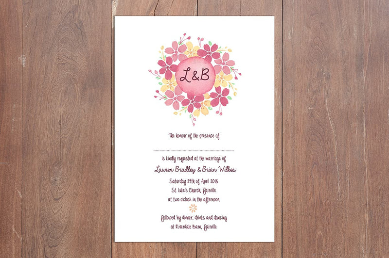 Dainty Floral A5 Wedding Invitation