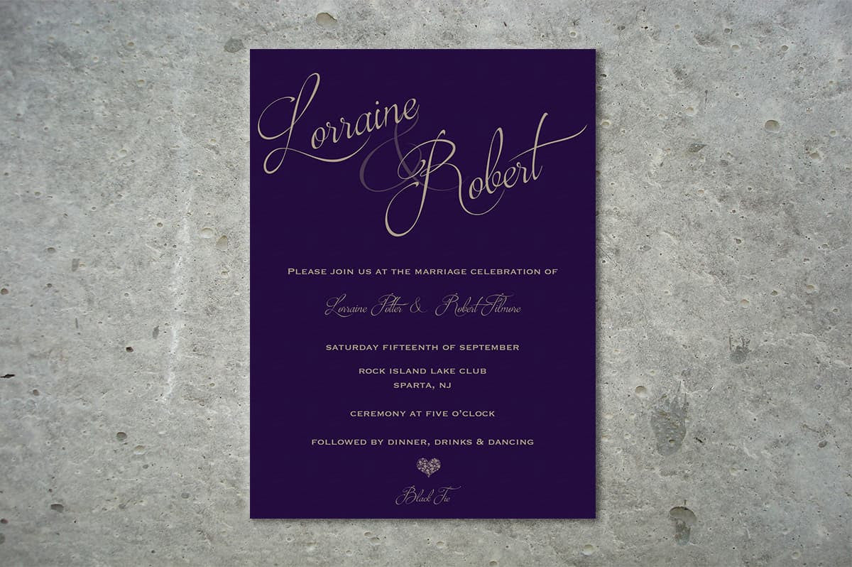 Deep Purple A5 Wedding Invitation