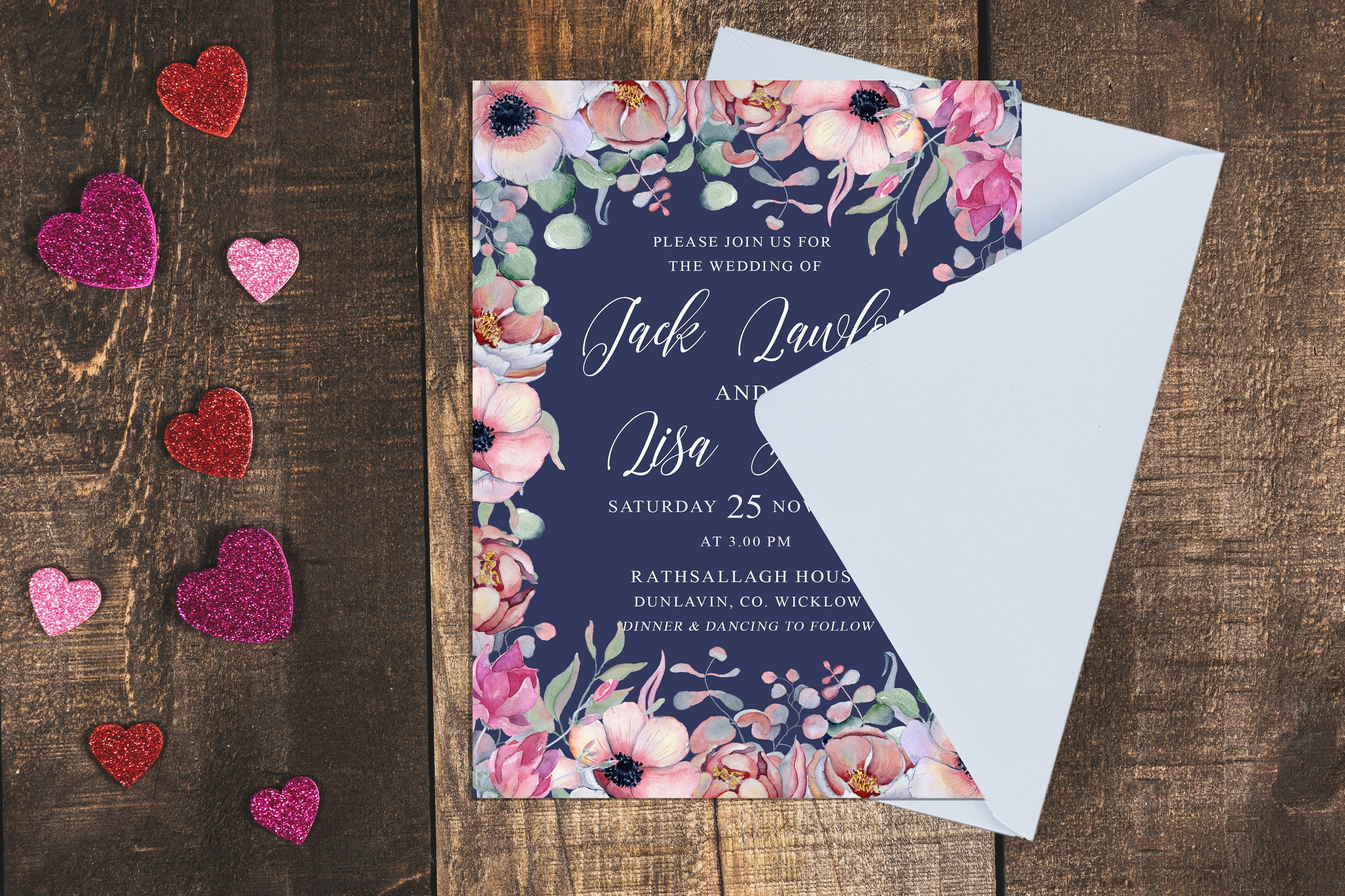 Navy Botanic Floral Wedding Invitation