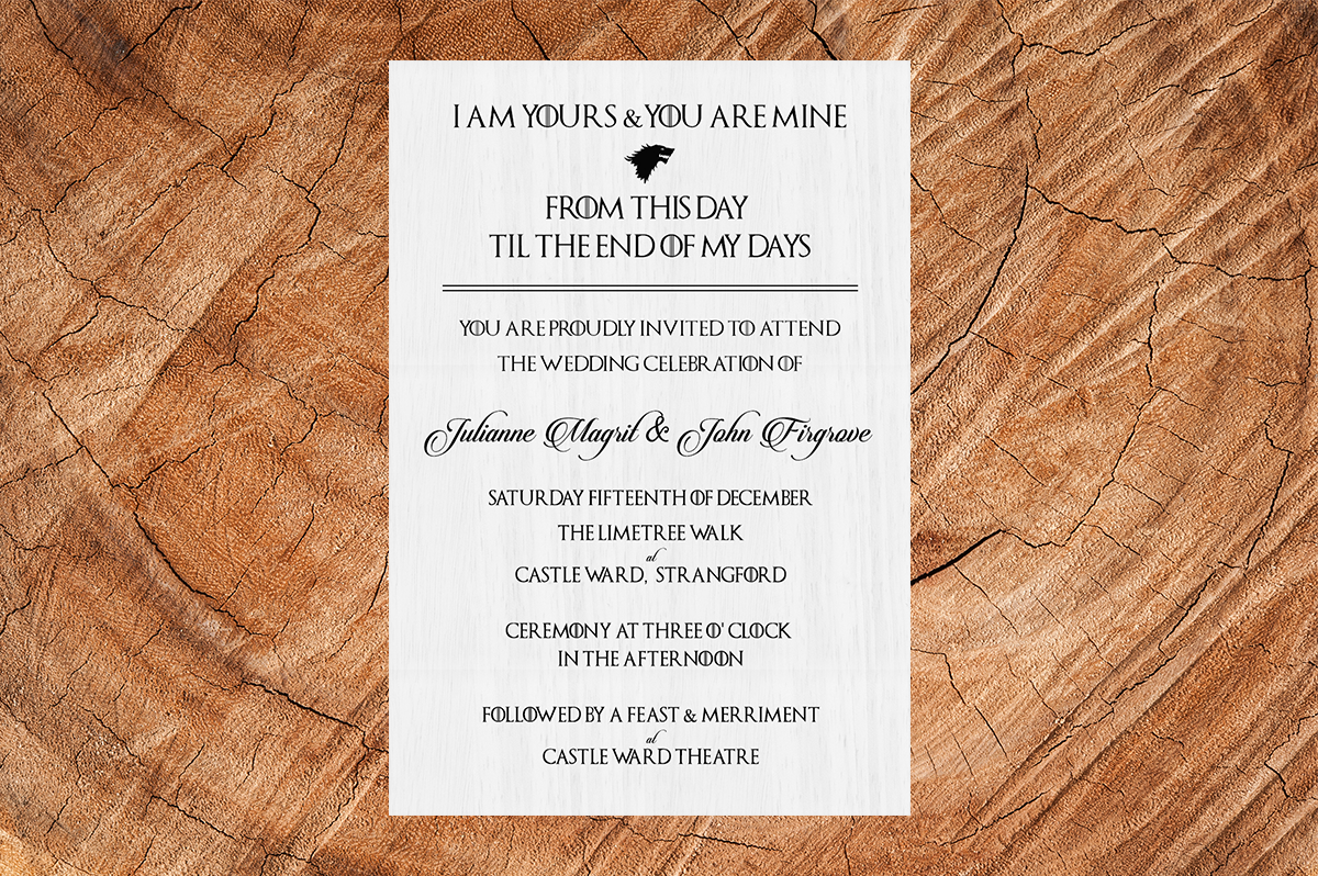 Game of Thrones House Stark Wedding Invitation