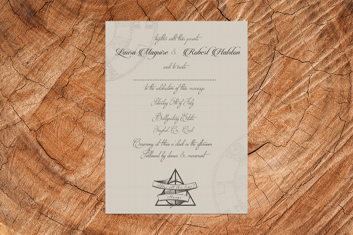 elegant harry potter wedding invitation - Harry Potter Wedding Invitations