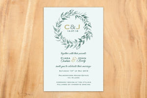 Mint Leaf A5 Wedding Invitation