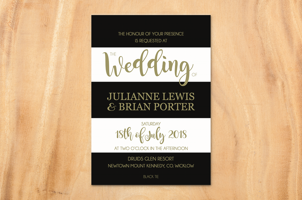Monochrome Elegance A5 Wedding Invitation