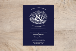 Navy Garden A5 Wedding Invitation