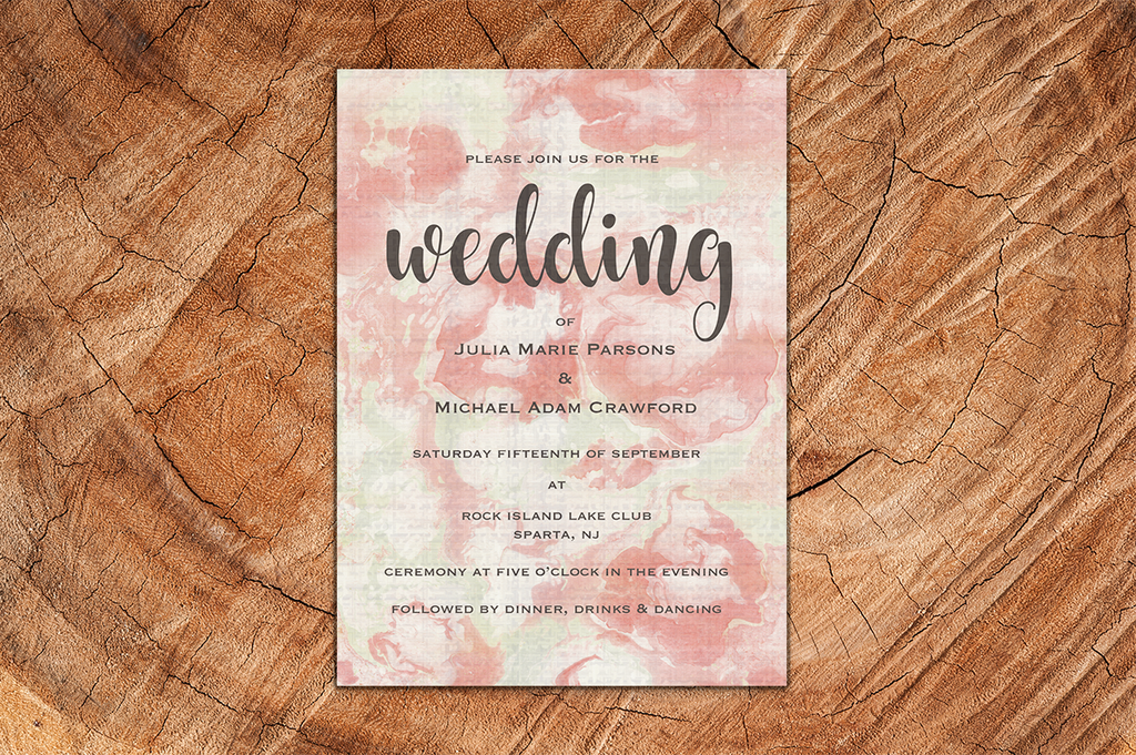 Pink Watercolour A5 Wedding Invitation