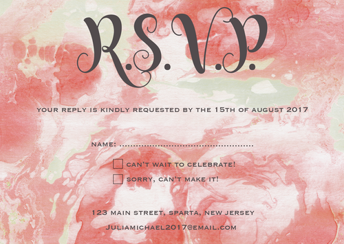 Pink Watercolour RSVP Card