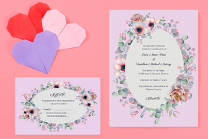 Pink Flower Bomb Wedding Invitation