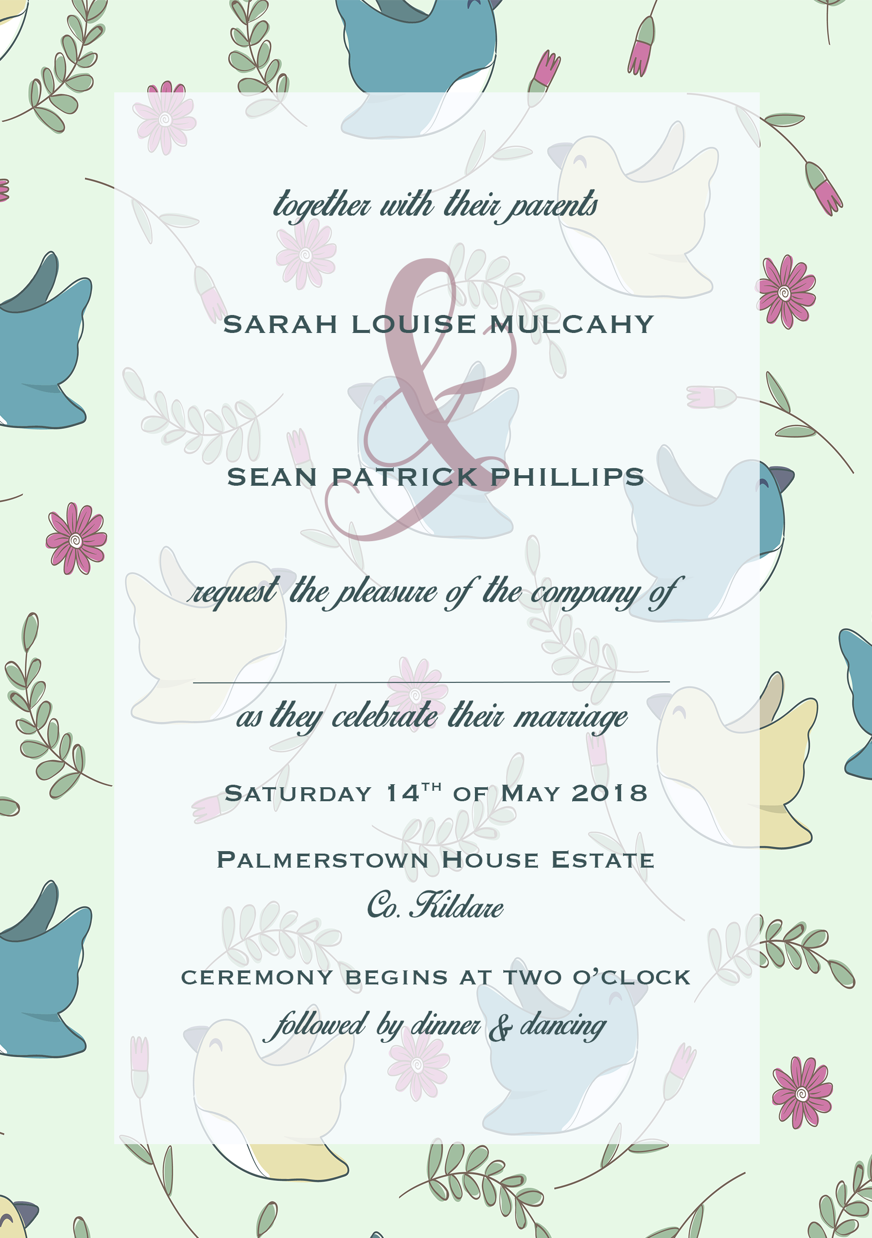 Pretty Bird Mint and Pink Wedding Invitation