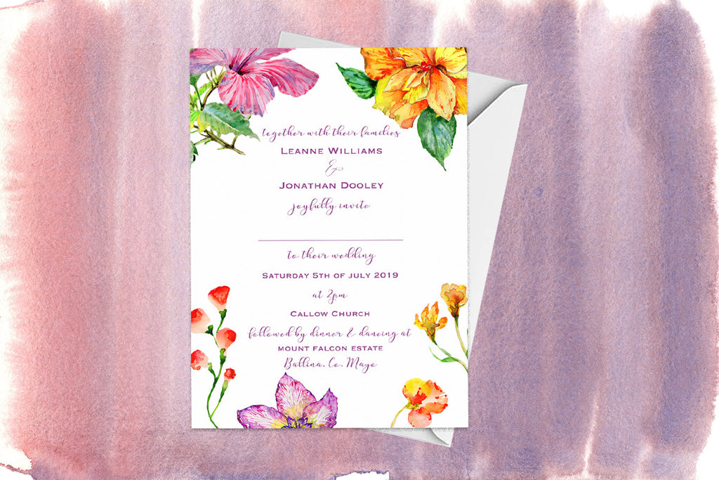 Vibrant Floral Wedding Invitation
