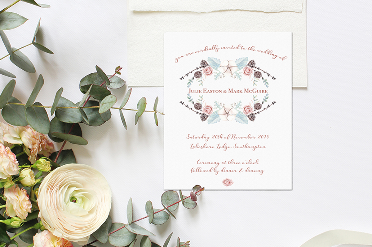 Winter Floral Wedding Invitation