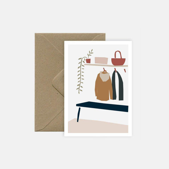 carte postale double et enveloppe kraft michoucas design