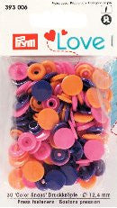 Prym Love COLOR SNAPS Orange Pink Lila 30 Stück