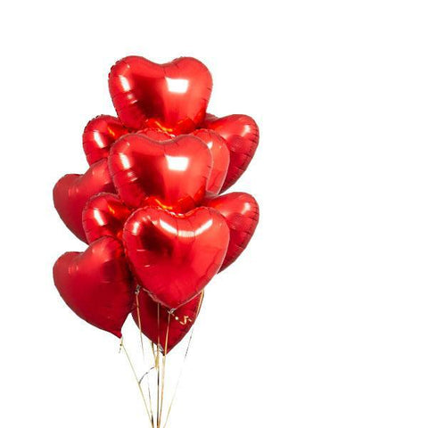 Dozen Foil Heart Balloons (Red)-Palm & Pine Party Co.