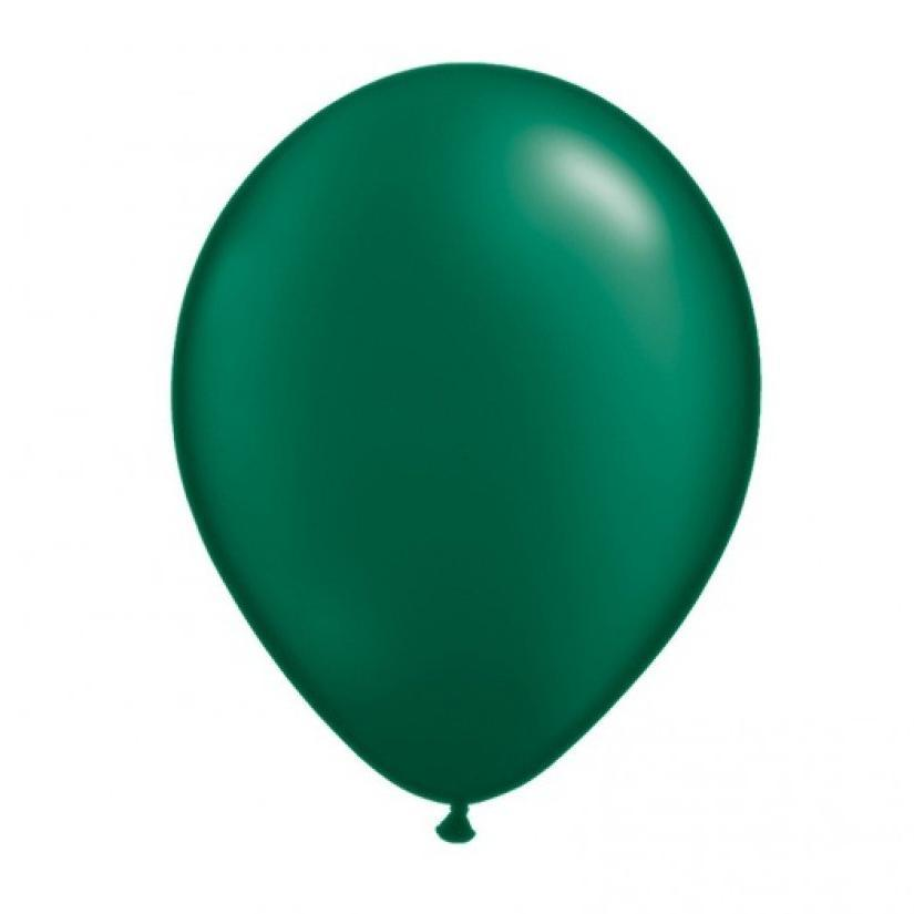 28cm Balloon Pearl Forest Green, Inflated-Palm & Pine