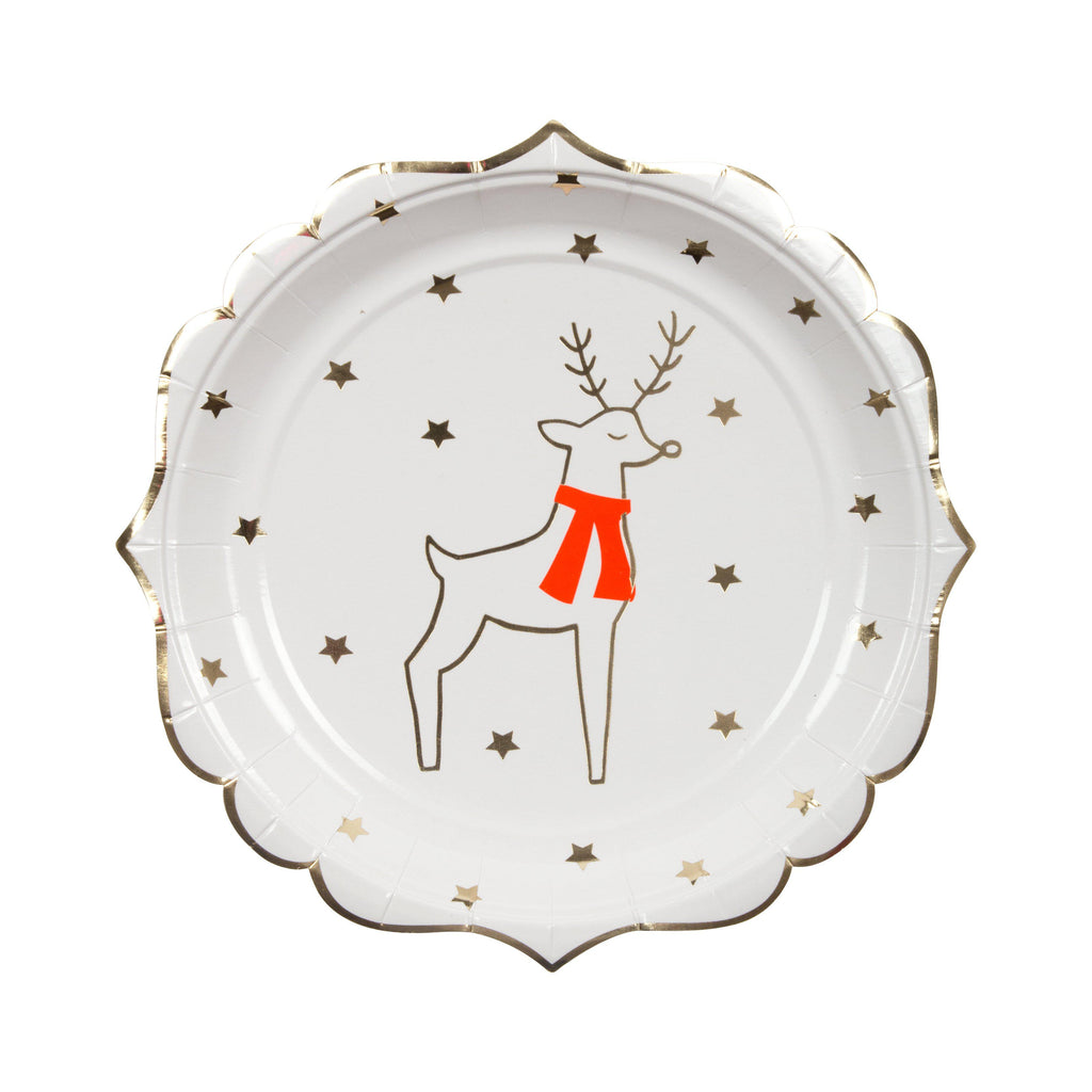 Reindeer & Star Plate (small)-Palm & Pine