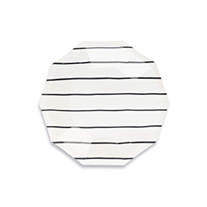 Black Stripe Plate (small)-Palm & Pine